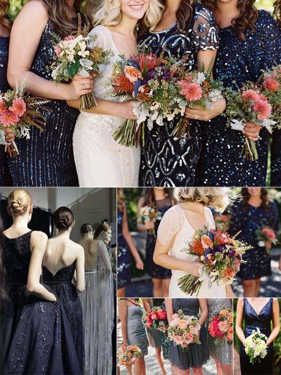 Winter Wedding Color Trend: Navy Sequins in Weddings