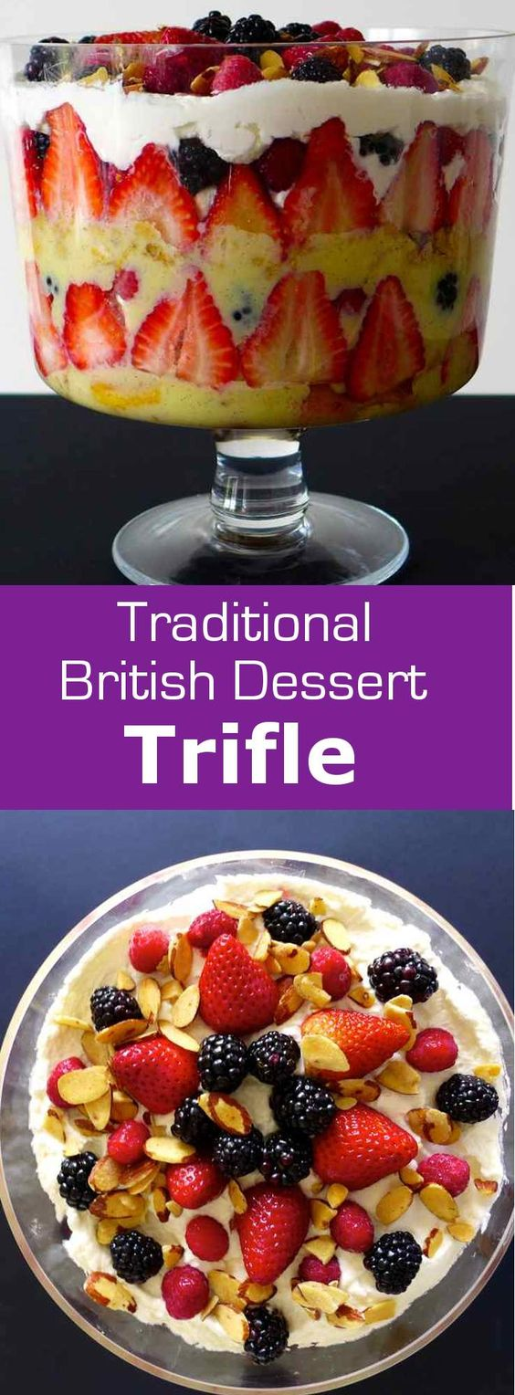 Despite the thousands of recipes for this sweet traditional dessert, there are still some common guidelines to follow to make an authentic and deliciously colorful British trifle. #dessert #England #196flavors