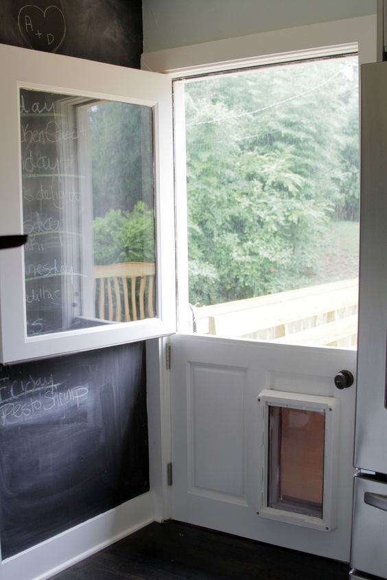 Dutch door w dog entrance i love the clear glass window pane doors to my heart and stairs to - Cat door for hollow core door ...
