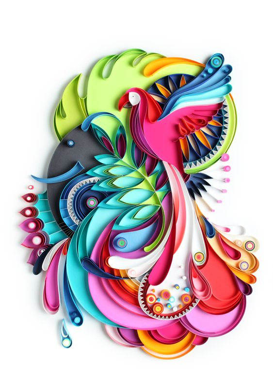 Paper art jungles and quilling on pinterest for Quilling paper art