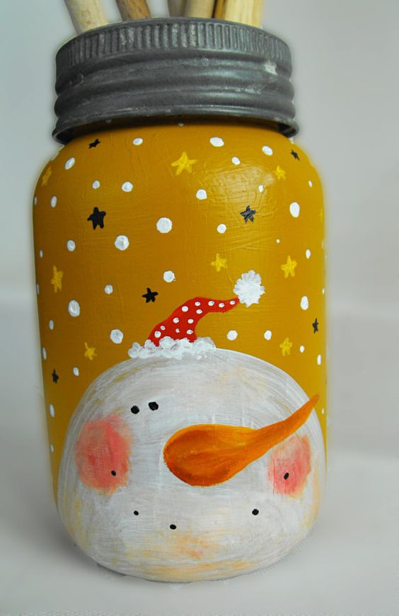 Snowman Crown Mason Jar Painted Reclaimed Christmas Jars