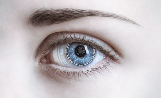 Close-up of woman's eye. New technologies concept