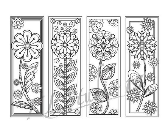 Blooming spring coloring bookmarks page instant download for Free printable spring coloring pages for adults