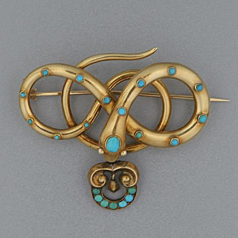 Mid-Victorian gold and turquoise serpent brooch: