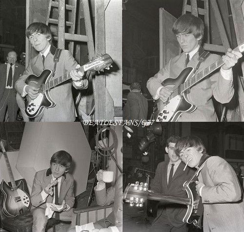 "George Harrison on the set of the Beatles film ""A Hard Day's Night""  at the Scala Theatre, March 12, 1964 London England"