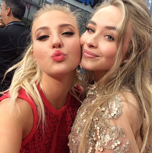 Sabrina Carpenter & Veronica Dunne at the Radio Disney Music Awards tonight! So beautiful