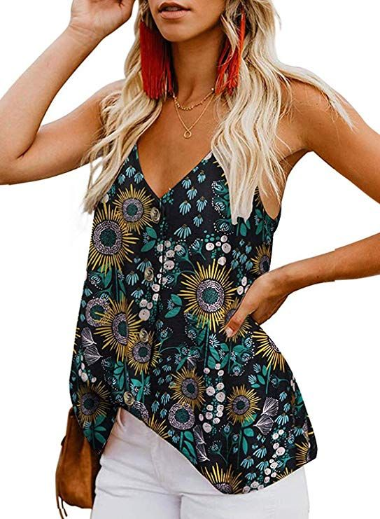 BLENCOT Womens Tie Dye Button Down V Neck Strappy Tank Tops Loose Casual Sleeveless Shirts Blouses