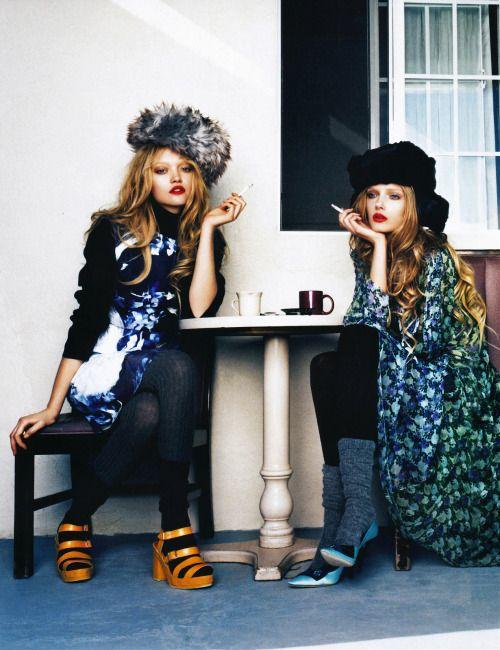 larastonesbitch:  Gemma Ward and Lily Donaldson by Emma...