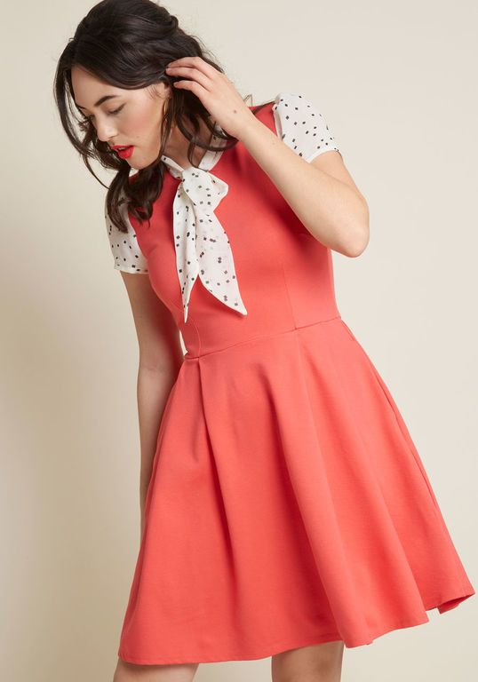 Smak Parlour Your Zest Bet A-Line Dress in Coral
