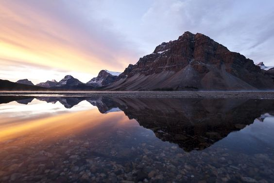 Croofoot Mountain reflected in Bow Lake at sunrise Banff National Park - Alberta - Canada