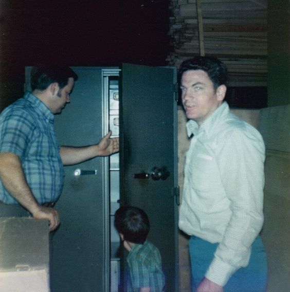 Owners Rod Reader and Ed Downes with the safe that is still in use today.