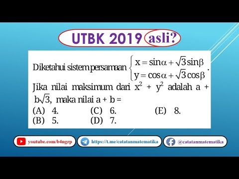 Soal Asli Utbk 2019 Matematika Saintek Nilai Maksimum Fungsi Trigonometri Youtube Matematika Trigonometri Persamaan