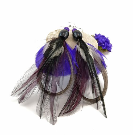 Purple feather earrings  Purple and black by FeathersnThingz