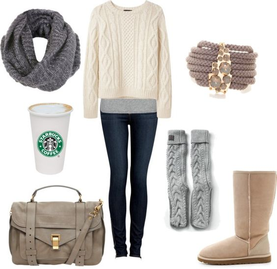 Skinny jeans (or leggings)   oversized sweater   leg warmers   SandUggs   gray accessories (don