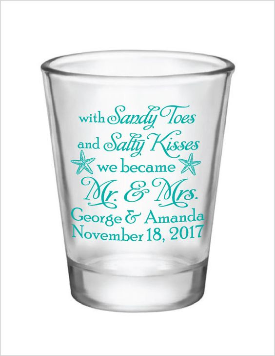 Beach Wedding Favors Shot Glasses - Sandy Toes & Salty Kisses Personalized Design - 1.5oz Glass Shot Glasses Custom Starfish Wedding by Factory21 on Etsy