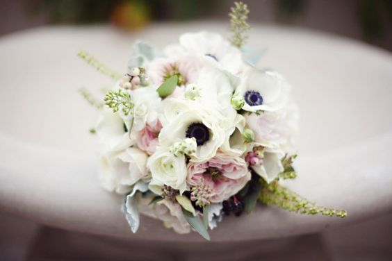 such a pretty pink, white, grey and black romantic bouquet