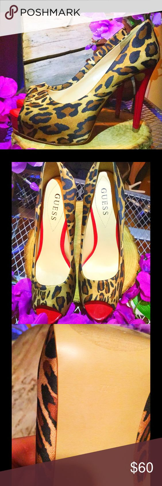Guess Heels. Cheetah 7.5. Super Sexy and Wild. Guess open toe heel. Red detail on heel. Very comfortable and sexy. Guess Shoes Heels