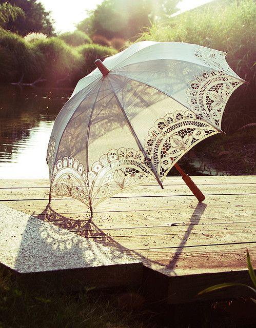 White lace summer parasol..   http://mustanggina.tumblr.com/: