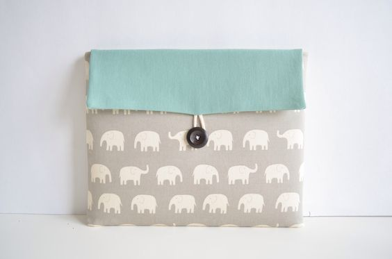 "Laptop Cover Clutch, Laptop Case for 11"" or 13 inch MacBooks, Custom Laptop Sleeve - Elephants by bertiescloset on Etsy https://www.etsy.com/listing/158034512/laptop-cover-clutch-laptop-case-for-11"