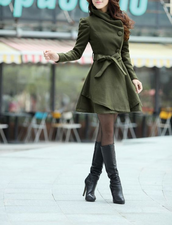 Army Green Long Dress Spring Trench Coats Fashion Women Wool