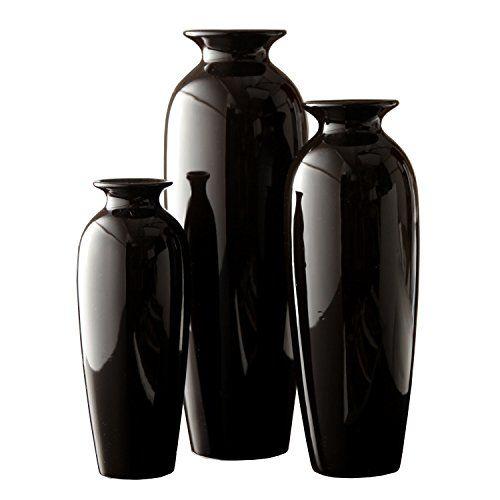 Hosley's Elegant Expressions Set of 3 Black Ceramic Vases in Gift Box- Box of 1 set