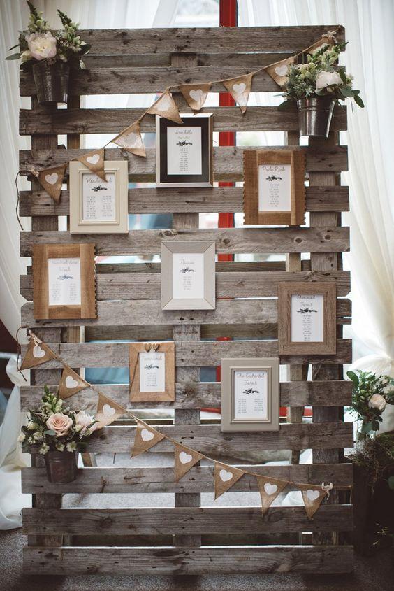 Pallet Table Seating Plan Chart Frames Whimsical Boho Woodland Wedding http://katmervynphotography.com/