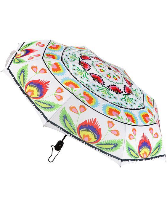 Folk Umbrella White Foldable