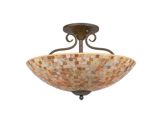 Quoizel Monterey Mosaic Dark Bronze Base Four-Light Semi-Flush Mount Light | QZMY1718ML