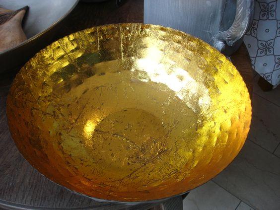 Riesen-Schale für Kerze aus Metall, schwarz-gold zierpalast shop!