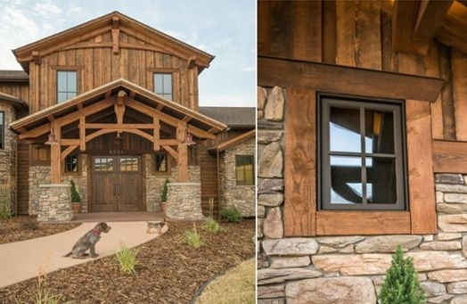 Reclaimed barn wood and stone exterior beautiful montana for Rustic siding ideas