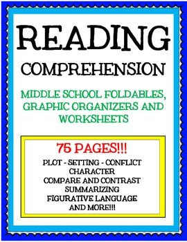Printables Middle School Comprehension Worksheets reading comprehension graphic organizers for middle school foldables activities and worksheets middleschoolteacher teacherspayteachers