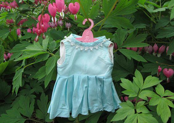 Blue Satin Doll Dress Vintage Handmade Sleeveless Girls Pale