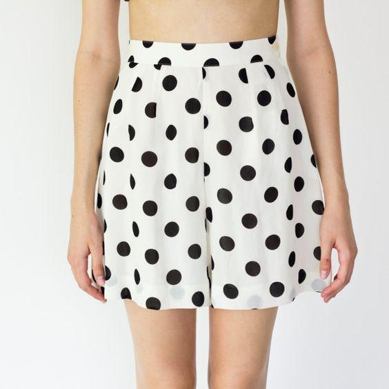 white highwaisted loose shorts w/ black polka dot by crowningandco, $45.00