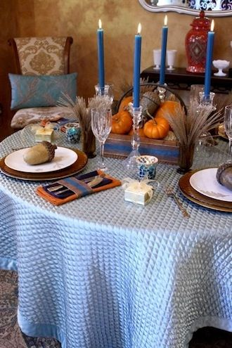 Conflicting celebrations--- too close to maize and blue on osu - michigan  weekend.  Blue and Autumn colors for Thanksgivukkah.