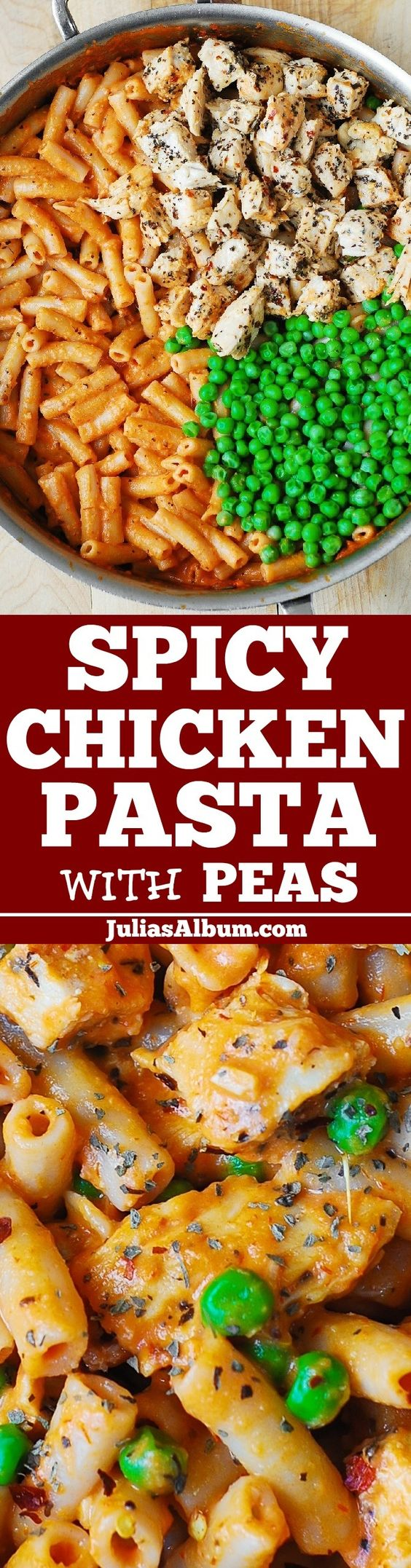 Chicken Pasta with Peas in a spicy and creamy Mozzarella cheese sauce ...