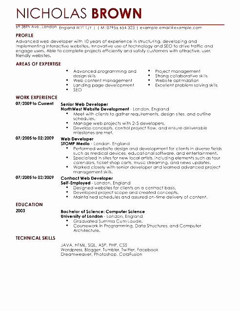 25 Junior Software Developer Resume Web Developer Cv Web