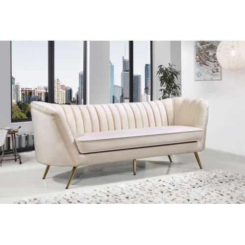 Cream Velvet Channel Tufted Sofa Gold Legs Gold Sofa Tufted Sofa Pink Velvet Sofa