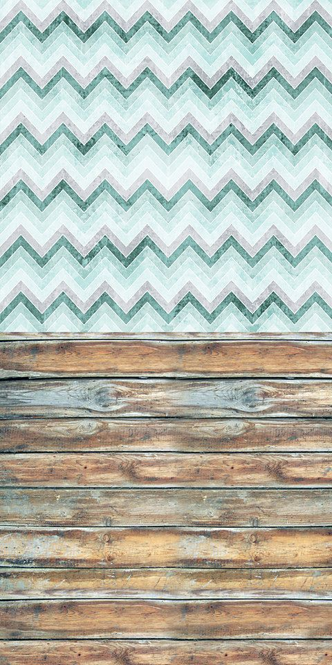Blue Chevron with Old Wood Vinyl Backdrop 5ft x 10ft