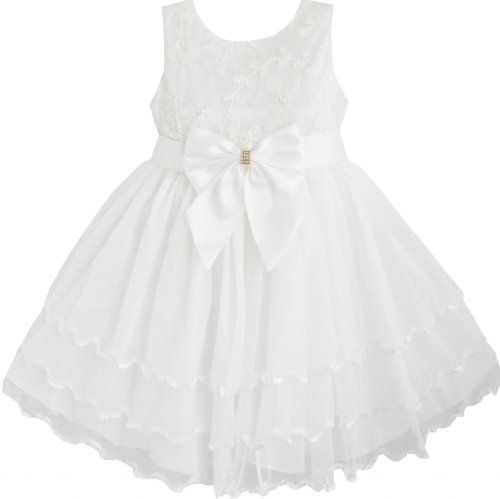 Sunny Fashion Mädchen Kleid Mädchen Blume Brautjungfer Schnüren Tüll Schichten Festzug Weiß von Sunny Fashion, http://www.amazon.de/dp/B00CB93VIQ/ref=cm_sw_r_pi_dp_-JNAsb1CTK25W