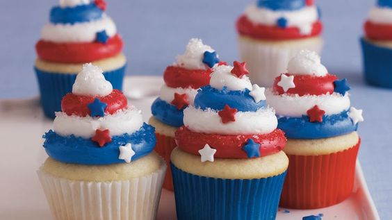 Treat your guests to these colorful cupcakes made using Betty Crocker™ Super Moist™ white cake mix and frosting – perfect dessert for Fourth of July.