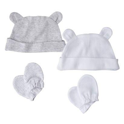 5$ chez Target : Chapeaux et mitaines pour nouveau-nés. Circo® Newborn Hat and Sock Set - Grey/White Pre