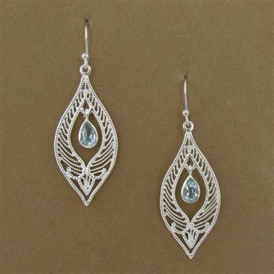 Sterling Silver Blue Topaz Pear Cutout Marquise Rope Dangle Earrings