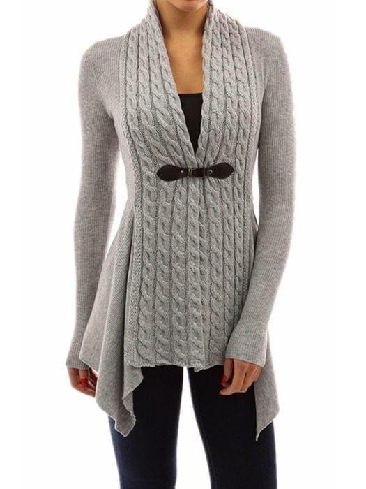 Vintage Cropped Sweatshirt Coat Modern Gray Wool Knit Jacket 60s Open Sweater Jacket