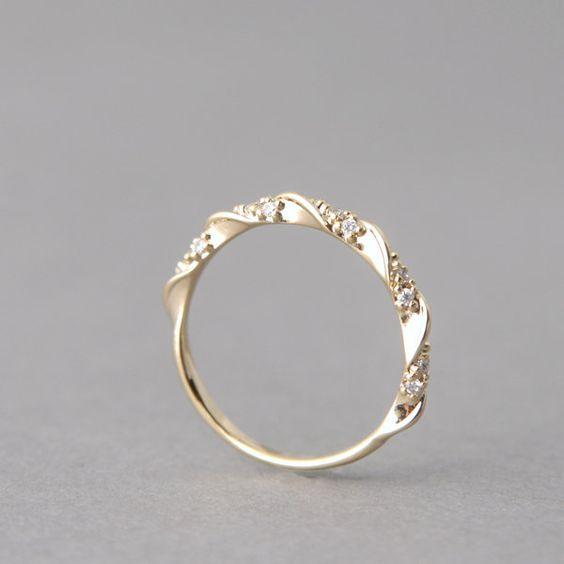CZ Simple Elegant Engagement Ring Gold at Kellinsilver