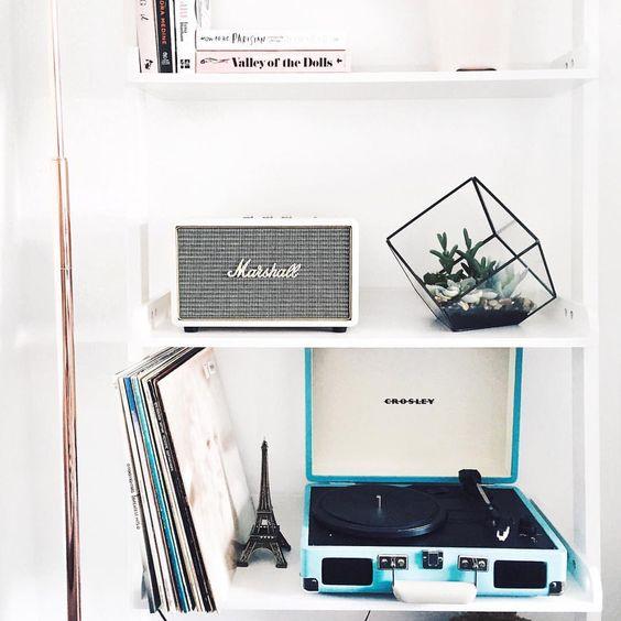 Vintage Crosley record player vinyl boho chic