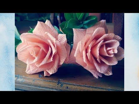 Kreasi Bunga Mawar Peach Dengan Kertas Krep Bagi Pemula Youtube Bunga Kertas Bunga Mawar