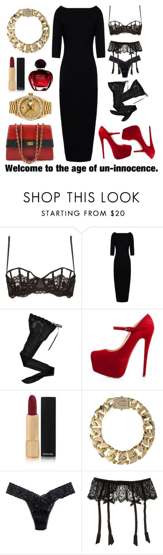 """S*X IT UP!"" by labriana29 ❤ liked on Polyvore featuring La Perla, Rick Owens, HYD, Christian Louboutin, Chanel, Christian Dior, AllSaints, Rolex, Hanky Panky and L'Agent By Agent Provocateur"