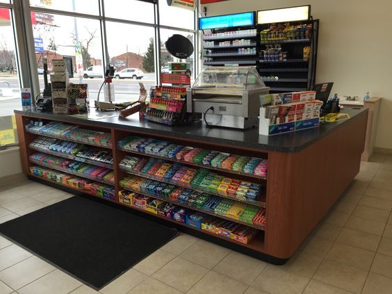 Handy Store Fixtures Sales Counter For Convenience Stores