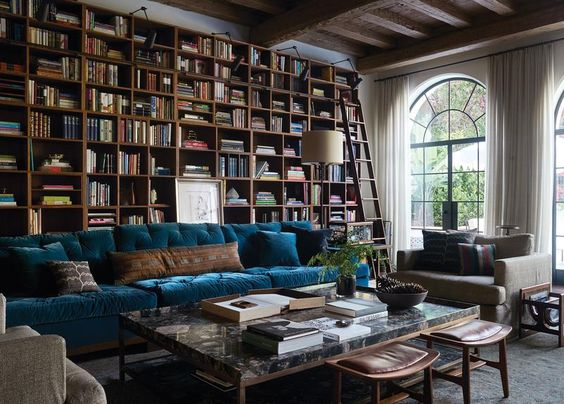 I adore this house. Shane Smith's from WSJ article in Santa Monica <strong>HIGH WINDOWS</strong> | In the family room, decorator Kerry Joyce designed the custom bookcases; the new ceiling was made from salvaged lumber; the sofa is covered in Rose Cumming velvet; the antique rug is from Mansour.