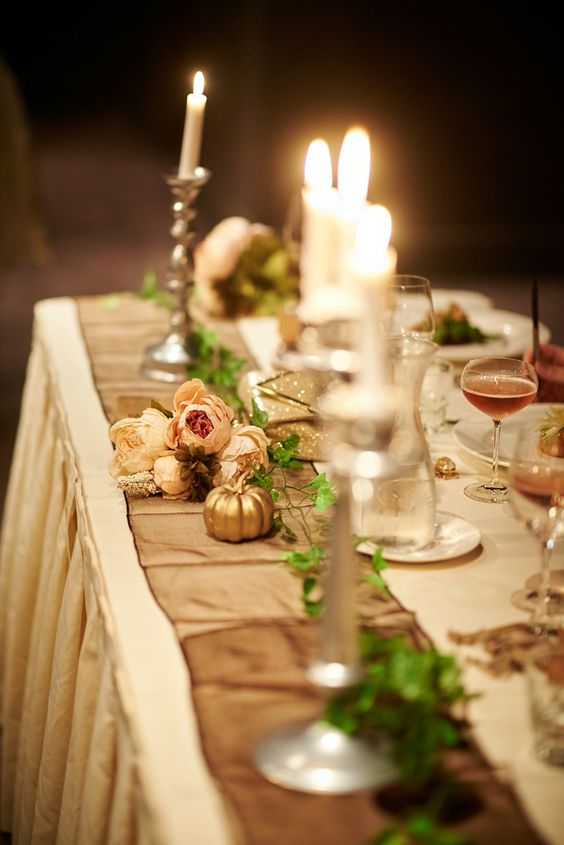 I choose a long bridal table & added tall candles for that elegant feel   #wedding #storybookwedding #bridaltable